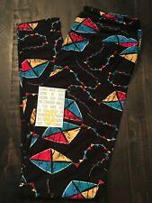 EUC LulaRoe - OS Leggings - Black Background with Kites - Unicorn