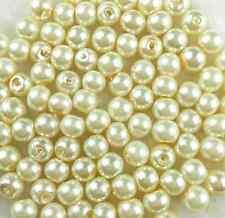 100Pcs 6mm  Ivory/Cream Glass Pearl Loose Bead Bride DIY Jewellery Making