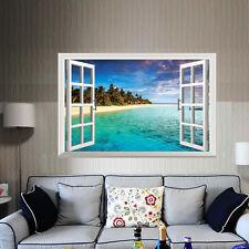 3D Window Tropical View Mural Wall Sticker Home Decor Vinyl Art Room Decal DIY