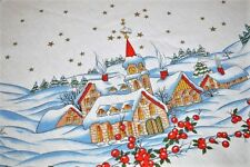 A COUNTRY CHRISTMAS VILLAGE IN WINTER SNOW! VTG GERMAN LARGE ROUND TABLECLOTH
