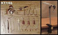 21 Peice Fly Tying Tool Kit  w/Chrome Rotating Vise - Ceramic Bobbins - KT146
