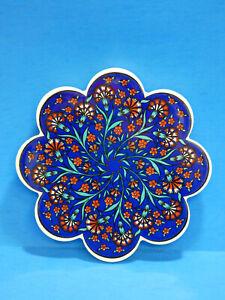 Vibrant Floral Ceramic Trivet Made Turkey Blue Red Flower 7x7 Kitchen Home Art 4