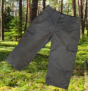 Men's COLUMBIA Long Cargo Shorts Size W34 green cotton nylon blend 7 pockets