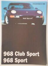 Porsche 968 Sport & Club Sport Orig 1994 1995 Reino Unido Mkt folleto de ventas-atención al cliente