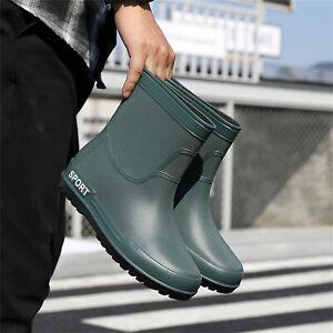 Men's Versatile Ankle Short Rain Boots Waterproof Rubber Non-Slip Flats Shoes