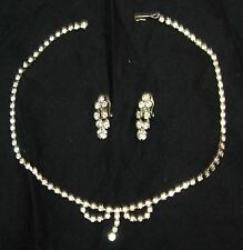 Exquisite Vintage Rhinestone necklace and earring set clear prom wedding clip