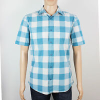 Next mens Size M blue white check short sleeve shirt