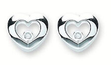 RHODIUM PLATED 925 HALLMARKED SILVER POLISHED FLOATING HEART STUD EARRINGS
