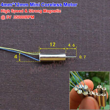 4mmx12mm Mini Coreless Motor DC3V 35000RPM High Speed Strong Magnetic Motor