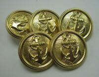 """Lot of 5 Vintage Brass Navy Style Anchor Buttons 1 1/8"""" Diameter T5"""