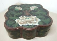 OLD CHINESE LACQUERED & HANDPAINTED LIDDED BOX
