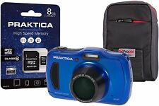 Praktica Luxmedia WP240 Waterproof Blue Camera Kit +8GB MicroSD Card & Case