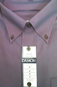 DAMON Enro Mens Dress Shirt ULTRA PINPOINT BD Collar Classic Fit B&T $68 NWT