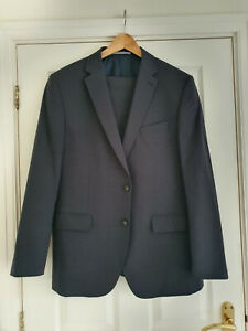 M&S COLLECTION Mens Wool-Mix Suit In Charcoal Grey Size 42 (Trousers 36x31) VGC!
