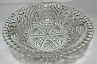 "Clear Pressed Glass Star Pattern Scalloped Edge Bowl10.75""W x 3 1/8""H Vintage"