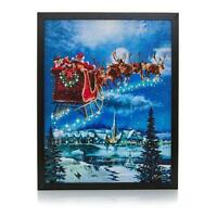 Winter Lane Fiber-Optic Lit Canvas Art with Remote - Santa In Flight Sold Out