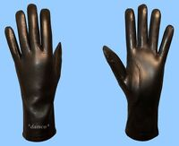 NEW WOMENS size 7 or Medium SHEARED LAMB FUR LINED BLACK LAMBSKIN LEATHER GLOVES