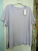 EILEEN FISHER 3X top  Organic Cotton Jersey Tee Featherweight  Lilac  NWT