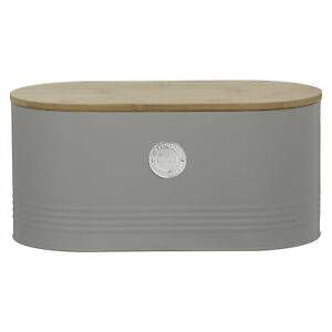 Typhoon Living Stainless Steel Bread Bin Grey With Bamboo Lid Kitchen Storage
