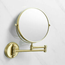 "Brushed Gold 8"" Magnifying Mirror For Bath Makeup Wall Swing Arm 3X 2-Sided"