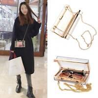 Ladies Acrylic Clear Transparent Women Evening Chain Shoulder Bag Handbag
