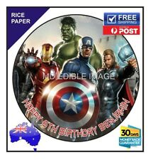 Avengers PERSONALISED EDIBLE Rice Paper BIRTHDAY CAKE  TOPPER IMAGE round 19cm
