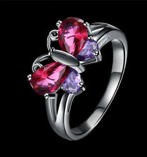 Butterfly Shape Red Purple Amethyst Sapphire Wedding Ring White Gold Size 8