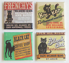 Black Cat FRIDGE MAGNET Set (1.5 x 1.5 inches each) coffee frenchy new orleans