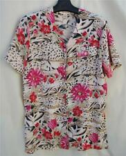 L Christie & Jill Crinkle Button Down Flower/Animal Print Design TOP $3.50 SHIP