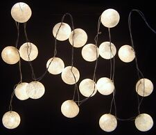 White Cotton Ball BATTERY LED Fairy Lights 20 Light Balls Uses 3 x AA Batteries