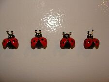 Lot of 4 Russian Hand Painted Lady Bug Souvenir Refrigerator Magnets Made in RUS