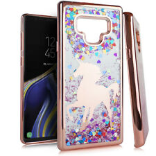 For Samsung Galaxy Note 9 - Water Liquid Glitters Case Rose Gold Unicorn Hearts
