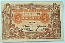5 Francs Belgique 25-1-1919  -Serie J 5 Frank 1919 Belgïe Belgiu  P-74b #F3#