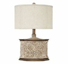 "24"" Antique White Traditional Vintage Carved Floral Table Lamp Desk Lamps Decor"