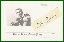 THEUNS BRIERS SOUTH AFRICA AUTOGRAPH RUGBY PHOTO CARD