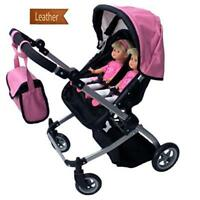 Babyboo Luxury Leather Look Twin Doll Pram/Stroller With Free Carriage (Multi Ne