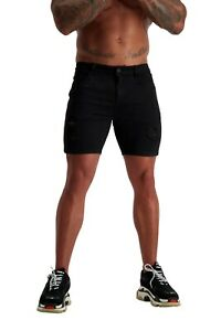ADONIS.GEAR-AG10, JEANS, MUSCLE FIT, SKINNY, STRETCH, DENIM, SHORTS,RIPPED BLACK