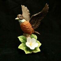 VINTAGE J BYRON CERAMIC ROBIN BIRD W/PINK FLOWER FIGURINE STATUE WINGS SPREAD