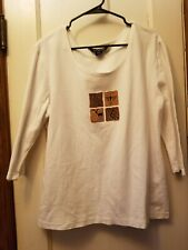 Petroglyph Knit Top White 3/4 Sleeves BFOFO Size Large