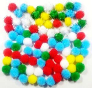 140 Craft Pom Poms 5 Colour Mixed Tinsel  2cm pompoms kids activity Quality item