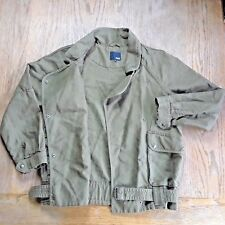 Wilfred Free Snap Button Military Moto Jacket Coat Khaki Green Olive Womens Sz L