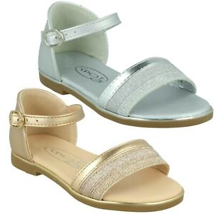 H0R350 SPOT ON INFANT GIRLS FLAT GLITTER CASUAL BUCKLE ANKLE STRAP SANDALS SIZE
