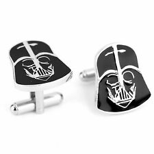 One Pair Men's Cufflinks Darth Vader Black Enamel Silver Plated Cufflinks Gift