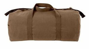 Earth Brown Shoulder Bag Large Heavyweight Canvas Duffle Gym Sports Gear 2243