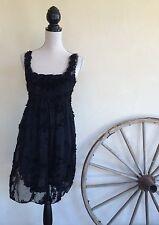 PRETTY ANGEL Black Silk Victorian Renaissance Goth Fairy Lace Tunic Boho Dress M