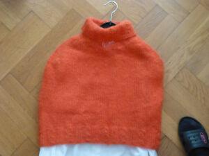 Poncho, Mini Cape,  Handarbeit gestrickt Mohair Orange Gr. 38 Schulterwärmer