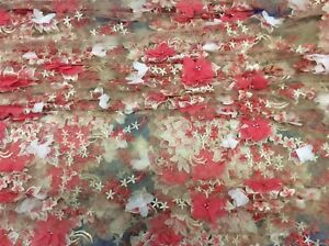 Hardy'sTextile100% PolyTulle/Mesh Fabric w/ Embroidered,Alliqued & Beads flowers