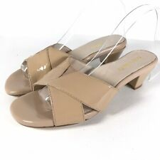 Taryn Rose Womens Slides size 6.5 Nude Patent Leather Cone Heel