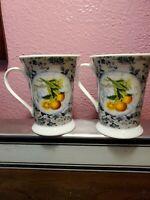 Set of 2 Fine Porcelain Pimpernel Coffee Tea Mugs / Cups -Fruit England Designed