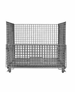 """Wire Collapsible Bulk Container Silver 29"""" H x 29 """" L x 31"""" W Steel"""